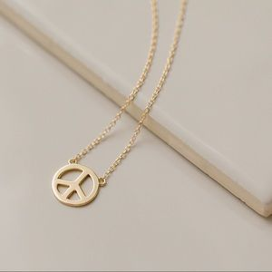 Peace Sign Necklace   14k Gold Plated